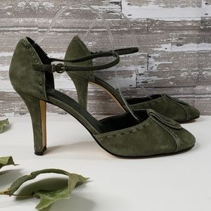 Nine & Co Green Suede Retro Stlyle Heels